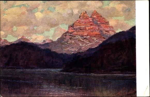 Künstler Ak Polesello, E., Südtirol, Il Lago di Misurino, Blick über den Misurinasee
