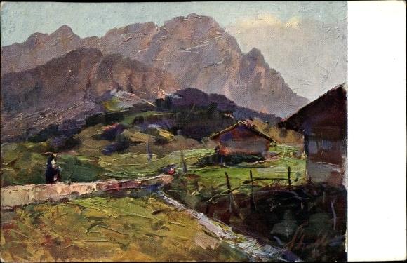 Künstler Ak Polesello, E., Südtirol, Il Cristallo, Blick zum Monte Cristallo