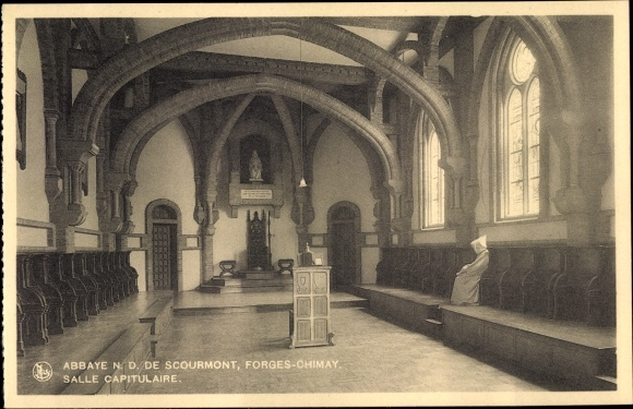 Ak Forges Chimay Wallonien Hennegau, Abbaye N. D. de Scourmont, Salle Capitulaire, moine