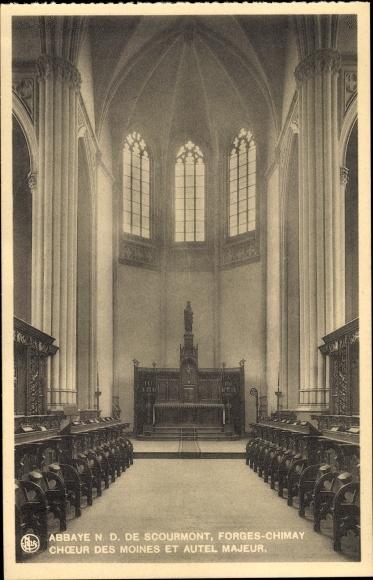 Ak Forges Chimay Wallonien Hennegau, Abbaye N. D. de Scourmont, Choeur des Moines et Autel Majeur