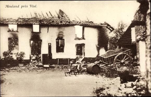 Ak Mouland près Visé Wallonien Lüttich, Coin d'une rue, Kriegszerstörungen, I. WK