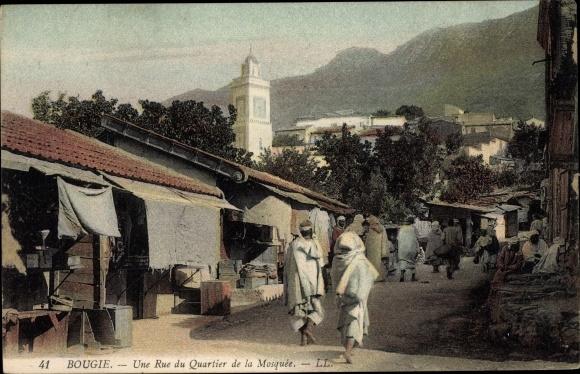 Ak Bougie Bejaia Algerien, Une rue du quartier de la Mosquée