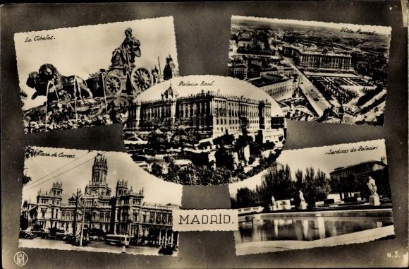 Ak Madrid Spanien, La Cibeles, Palacio Real, Vista Parcial, Casa de Correos, Jardines de Palacio