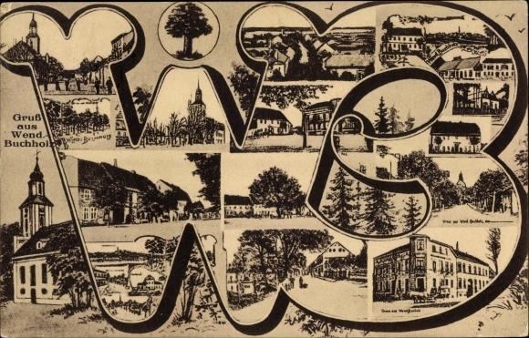 Buchstaben Ak Märkisch Buchholz in Brandenburg, Wendisch Buchholz, Kirche, Straßenpartien, Gebäude