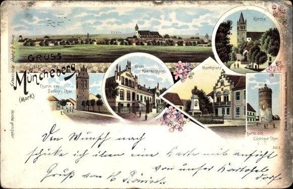 Litho Müncheberg Märkisch Oderland, Neues Krankenhaus, Kirche, Berliner Tor, Küstriner Tor, Türme