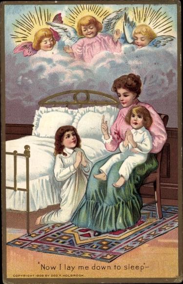 Präge Ak Now i law me down to sleep, Mutter, Betende Kinder vor dem Schlafen gehen, Engel