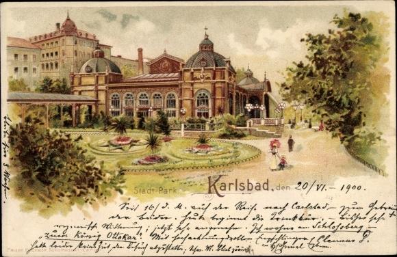 Litho Karlovy Vary Karlsbad Stadt, Stadtpark