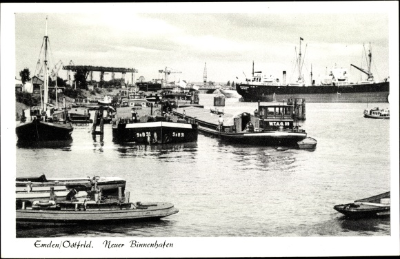 Ak Emden in Ostfriesland, Neuer Binnenhafen, Schiffe