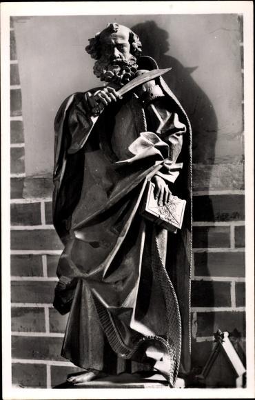 Ak Güstrow in Mecklenburg Vorpommern, Dom St. Maria, Apostelfigur von Claus Berg, Bartholomäus