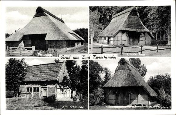 Ak Bad Zwischenahn in Niedersachsen, Dwersack, Heuer Haus, Einraumhaus, Töpferei, alte Schmiede