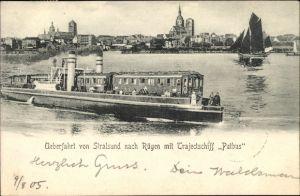 Ak Stralsund in Mecklenburg Vorpommern, Überfahrt von Stralsund nach Rügen