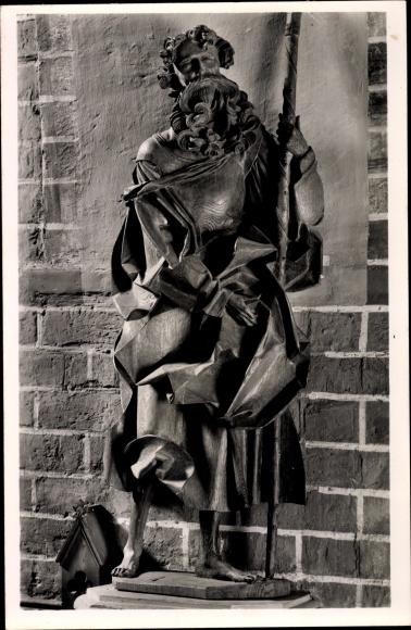 Ak Güstrow in Mecklenburg Vorpommern, Dom St. Maria, Apostelfigur von Claus Berg, Thomas