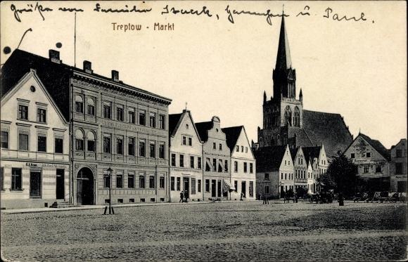 Ak Trzebiatów Treptow Rega Pommern, Markt, Kirche
