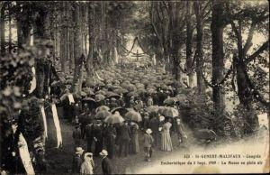 Ak Saint Genest Malifaux Loire, Congrès Eucharistique, La Messe en plein air, 5.9.1909
