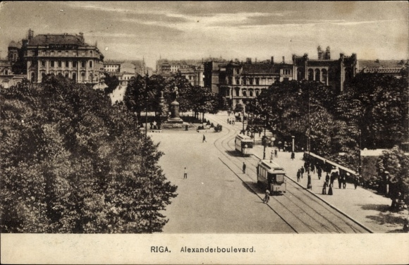 Ak Riga Lettland, Alexander Boulevard, Straßenbahn