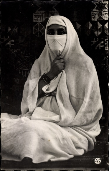 Ak Scenes et Types d'Afrique du Nord, Mauresque Voillée, verschleierte maurische Frau