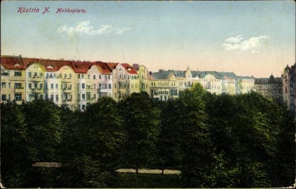 Ak Kostrzyn nad Odrą Cüstrin Neustadt Ostbrandenburg, Moltkeplatz, Parkanlagen, Wohnhäuser