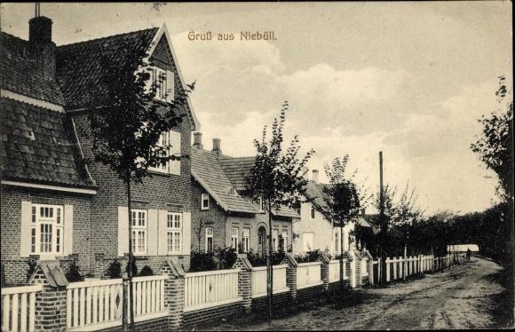 Ak Niebüll in Nordfriesland, Straßenpartie, Gebäude