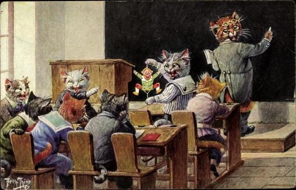 Künstler Ak Thiele, Arthur, Katzenschule, Hampelmann, Lehrer, Vermenschlichte Katzen