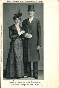 Ak Oswald Balling und Gemahlin, Größtes Ehepaar der Welt, Goliath der deutschen Armee