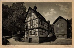 Ak Falkenstein Königstein im Taunus, Das Rathaus, Fachwerkhaus