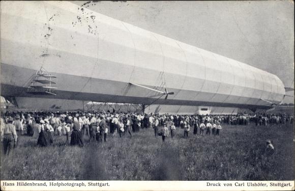 Ak Leinfelden Echterdingen BW, Zeppelin Luftschiff, Landung am 05. August 1908