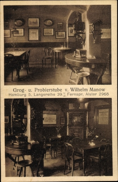 Ak Hamburg Mitte St. Georg, Grog u. Probierstube v. Wilhelm Manow, Langereihe 39, Innenansicht