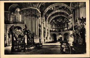 Ak Krzeszów Kamienna Góra Grüssau Schlesien, Inneres der Abteikirche m. Orgelbühne