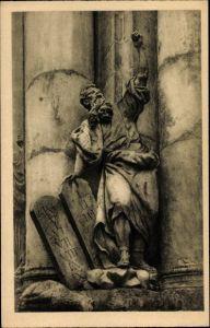 Ak Krzeszów Kamienna Góra Grüssau Schlesien, Mosesstatue am Portal der Abteikirche
