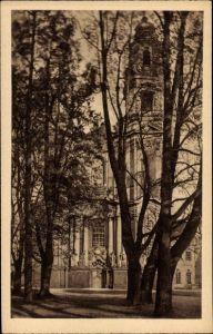Ak Krzeszów Kamienna Góra Grüssau Schlesien, Zur Abteikirche, Außenansicht m. Park