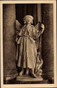 Ak Krzeszów Kamienna Góra Grüssau Schlesien, Fürstengruft, St. Rafael Statue