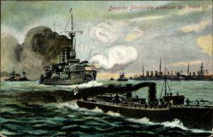 Ak Deutsche Streitkräfte schließen den Feind ein, Deutsche Kriegsschiffe