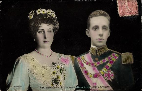 Ak Prinzessin Victoria Eugénie von Battenberg und König Alfons XIII von Spanien, RPH