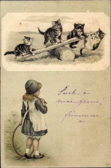 Präge Litho Vier Katzen auf einer Wippe, Mädchen mit Reifen