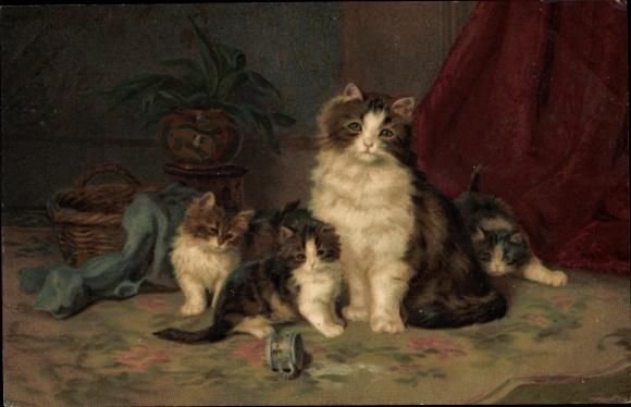 Künstler Ak Katze mit jungen Kätzchen, umgestoßene Tasse, Meissner & Buch 1945