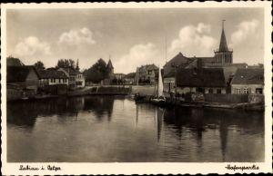 Ak Polessk Labiau Ostpreußen, Hafenpartie
