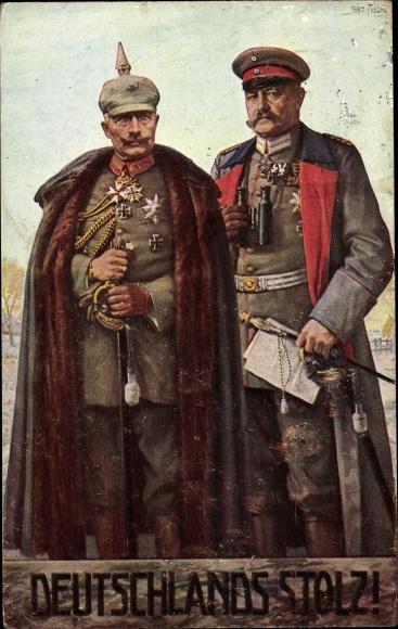 Künstler Ak Fischer, Art., Kaiser Wilhelm II., Generalfeldmarschall Paul von Hindenburg