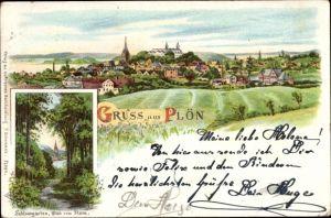 Litho Plön in Schleswig Holstein, Panorama vom Ort, Schlossgarten, Blick vom Stern
