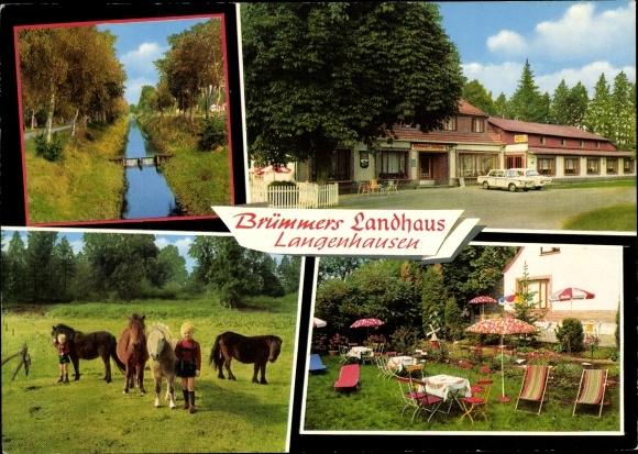 Ak Langenhausen Gnarrenburg in Niedersachsen, Brümmers Landhaus, Wehr, Ponys, Jungen in Lederhosen