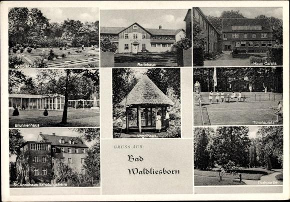 Ak Waldliesborn Lippstadt Nordrhein Westfalen, Tennisplatz, Minigolfplatz, Haus Carola, St. Annahaus