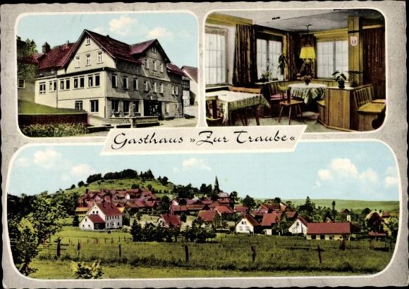 Ak Ulrichstein in Hessen, Gasthaus Zur Traube, Innh. Otto Lang, vorm. Behrmann, Panorama vom Ort