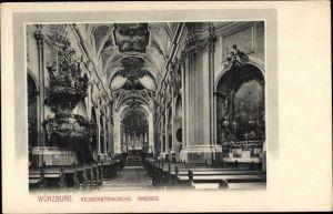 Ak Würzburg am Main Unterfranken, Neumünsterkirche, Innenansicht, Altar, Kirchenbänke