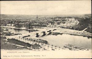Ak Würzburg am Main Unterfranken, Teilansicht vom Ort mit Brücke u. Dom, Blick vom Käppele