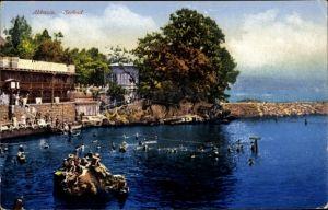 Ak Opatija Abbazia Kroatien, Seebad, Badegäste im Wasser, Purger & Co. 11593