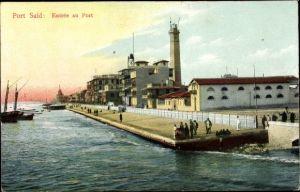 Ak Port Said Ägypten, Entrée du Port, Hafenpartie, Leuchtturm