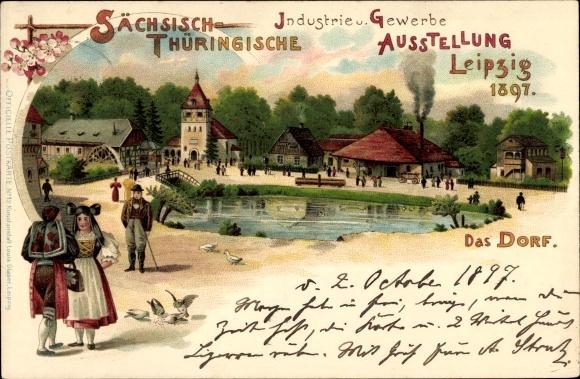 Litho Leipzig, Sächsisch-Thüringische Industrie- und Gewerbeausstellung 1897, Dorf, Trachten