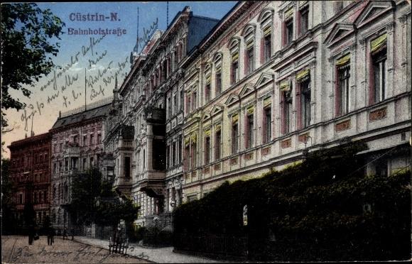 Ak Kostrzyn nad Odrą Cüstrin Ostbrandenburg, Bahnhofstraße