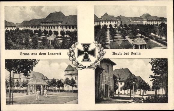 Ak Berlin Pankow Buch, Lazarett, Garten, Eisernes Kreuz