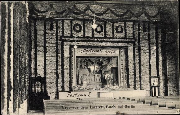 Ak Berlin Pankow Buch, Lazarett, Festsaal, Bühne
