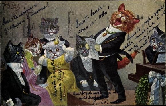 Künstler Ak Thiele, Arthur, Vermenschlichte Hauskatzen, Katzenmusik